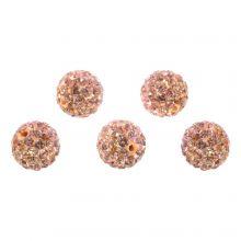 Shamballa Beads (10 mm) Salmon Peach (5 pcs)