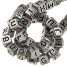 Acrylic Mix Letter Beads (6 x 6 mm) Silver (100 pcs)