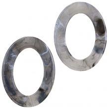Acrylic Rings (37 x 28 x 3.5 mm) Grey (25 pcs)