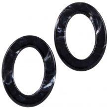Acrylic Rings (37 x 28 x 3.5 mm) Black (25 pcs)