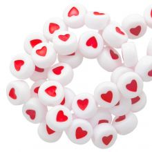 Acrylic Letter Beads Heart (7 x 4 mm) White / Red (350 pcs)