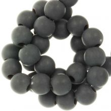 Acrylic Beads Mat (6 mm) Dark Grey (100 pcs)