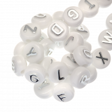 Acrylic Mix Letter Beads (10 x 6 mm) Silver (170 pcs)