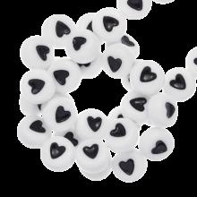 Acrylic Letter Beads Heart (7 x 4 mm) White (350 pcs)
