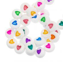 Acrylic Letter Beads Heart (7 x 4 mm) Mix Color (350 pcs)