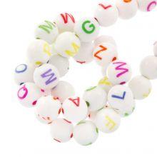 Acrylic Mix Letter Beads (7 x 8 mm) White / Mix Color (200 pcs)
