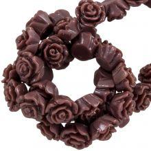 Resin Flower Beads (6 x 4 mm) Log Brown (40 pcs)