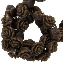 Resin Flower Beads (6 x 4 mm) Dark Brown (40 pcs)