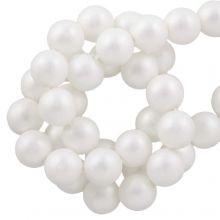 DQ Glass Pearls (8 mm) White Matt (75 pcs)