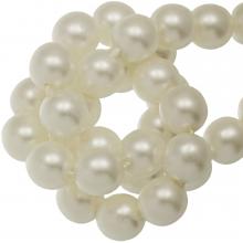 DQ Glass Pearls (8 mm) Broken White Matt (75 pcs)
