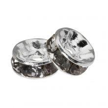Rhinestone Spacers (6 x 3 mm) Grey (10 pcs)