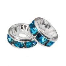 Rhinestone Spacers (6 x 3 mm) Blue (10 pcs)