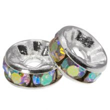 Rhinestone Spacers (8 x 4 mm) Crystal Shine (10 pcs)