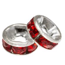 Rhinestone Spacers (6 x 3 mm) Red (10 pcs)