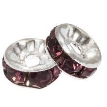 Rhinestone Spacers (8 x 4 mm) Purple  (10 pcs)