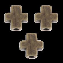 Metal Beads Cross (6 mm) Bronze (40 pcs)
