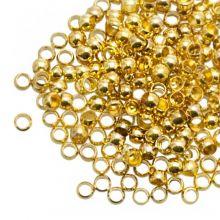 Crimp Beads (hole size 3 mm) Gold (100 pcs)