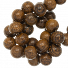 wooden beads wood grain robles color 12 mm