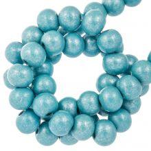 wooden beads aqua blue metallic 8 mm