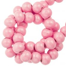 candy pink metallic round wooden beads 8 mm