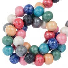 wooden beads metallic mix color shine