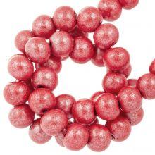 wooden beads metallic red beautiful shine