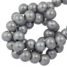 wooden beads grey metallic 8 mm