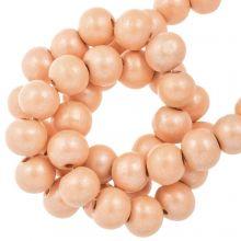 wooden beads cantaloupe color metallic light orange