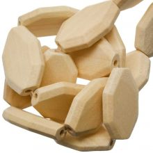 Natural Wood Beads Facet Oval (34 x 27 mm) 10 pcs