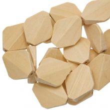 Natural Wood Beads Facet (27  x 22 mm) 10 pcs