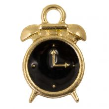Enamel Charm Clock (16 x 10.5 x 3 mm) Black (5 pcs)