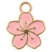 Enamel Charm Flower (14.5 x 12 x 1.5 mm) Pink (5 pcs)