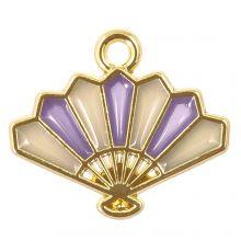 Enamel Charm Fan (17 x 15 x 1.5 mm) Purple (5 pcs)