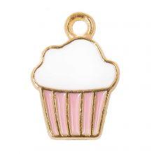Enamel Charm Cupcake (16 x 11 x 2 mm) Pink (5 pcs)