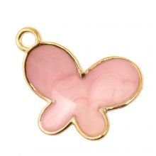 Enamel Charm Butterfly (17 x 13 x 3 mm) Pink (5 pcs)