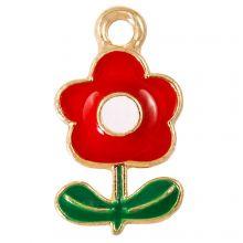 Enamel Charm Flower (19 x 11 x 2.5 mm) Red (5 pcs)