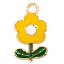 Enamel Charm Flower (19 x 11 x 2.5 mm) Yellow (5 pcs)