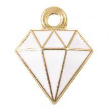 Enamel Charm Diamond (15 x 11 x 2.5 mm) White (5 pcs)