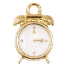 Enamel Charm Clock (16 x 10.5 x 3 mm) White (5 pcs)