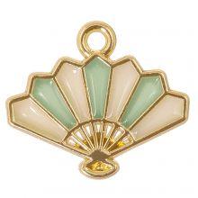 Enamel Charm Fan (17 x 15 x 1.5 mm) Sage Green (5 pcs)