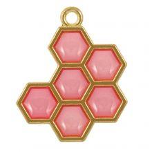 Enamel Pendant Honeycomb (21 x 17 x 1.5 mm) Red Violet (5 pcs)