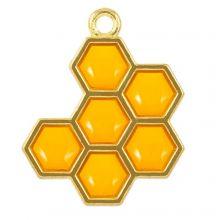 Enamel Pendant Honeycomb (21 x 17 x 1.5 mm) Golden Yellow (5 pcs)