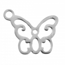 Stainless Steel Charm Butterfly (13 x 11 mm) Antique Silver (4 pcs)