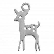 Stainless Steel Charm Deer (15 x 8 mm) Antique Silver (4 pcs)