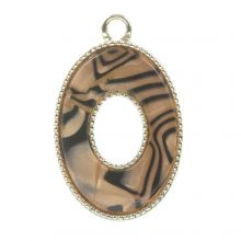 Acrylic Pendant (25 x 16 x 4 mm) Sandy Brown (3 pcs)