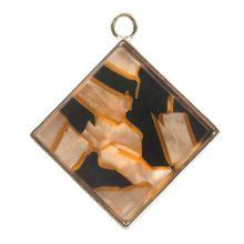 Acrylic Pendant (29 x 26 x 4 mm) Orange Fire (3 pcs)