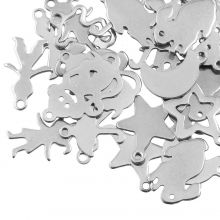 Charm Mix Stainless Steel (various sizes) Antique Silver (40 Pieces)