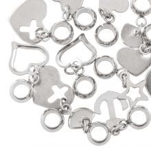 Charm Mix with Connector Stainless Steel (various sizes) Antique Silver (12 Pieces)