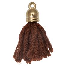 Tassels (20 mm) Penny Brown / Gold (5 pcs)