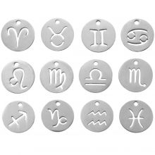Charm Zodiac sign (12 mm) 12 pcs